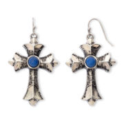 Aris by Treska Dark Blue Cross Earrings