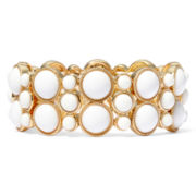 Liz Claiborne® Gold-Tone White Stretch Bracelet