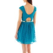 City Triangles® Cap-Sleeve Belted Lace Dress
