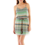 City Triangles® Sleeveless Belted Print Blouson Dress