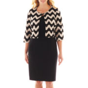 Danny & Nicole® Dress with Zigzag Jacket - Plus