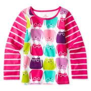Okie Dokie® Long-Sleeve Mixed Print Tee - Girls 2y-6y