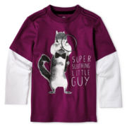 Okie Dokie® Long-Sleeve Graphic Layered Tee - Boys 2y-6y