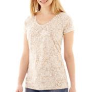St. John's Bay® Short-Sleeve Shirred V-Neck Top - Petite