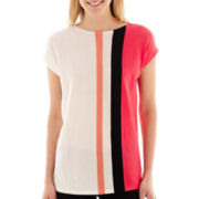 Worthington® Short-Sleeve Kimono-Striped Tunic Sweater