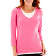 Made For Life™ 3/4-Sleeve Layered V-Neck Sweatshirt