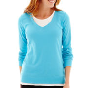 Made For Life™ Long-Sleeve Layered V-Neck Sweatshirt