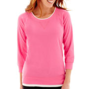 Made For Life™ 3/4-Sleeve Layered Scoopneck Sweatshirt