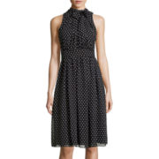 Black Label by Evan Picone Sleeveless Polka Dot Chiffon Dress