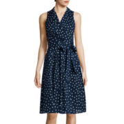 Black Label by Evan Picone Sleeveless Polka Dot Wrap Dress