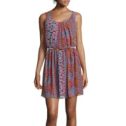 by&by Sleeveless Pleated Neckline Print Dress