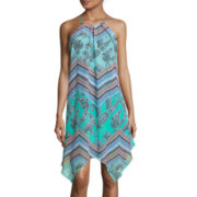My Michelle® Sleeveless Keyhole Tie-Front Printed Handkerchief-Hem Dress