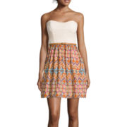 City Triangles® Strapless Lace-Bust Printed Skirt Dress- Juniors