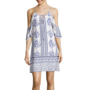 Trixxi® Off-Shoulder Print Crepe Lace-Up Dress