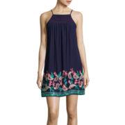 Trixxi® Spaghetti-Strap Embroidered A-Line Dress