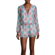 Be Smart Long-Sleeve Printed Lace-Up Chiffon Romper