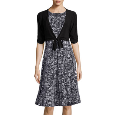jcpenney.com | Perceptions Dot Print Tie-Front Jacket Dress