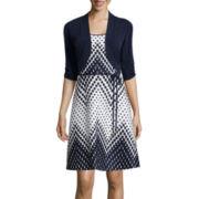 Studio 1® Geo Square Chevron-Print Jacket Dress