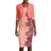 Maya Brooke Sleeveless Floral-Side Jacket Dress