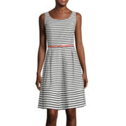Tiana B. Sleeveless Stripe Belted Fit-and-Flare Dress