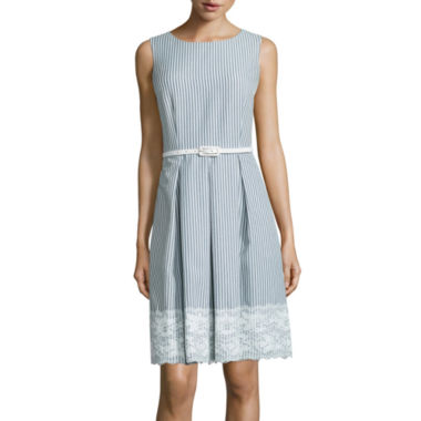 jcpenney.com | R&K Originals® Sleeveless Lace-Trim Seersucker Fit-and-Flare Dress