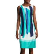 BE by CHETTA B Sleeveless Brush Stroke Print Shift Dress