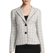 Evan-Picone Long-Sleeve Piped Wing-Collar Plaid Jacket