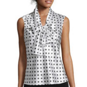 Evan-Picone Sleeveless Polka Dot Bow Blouse