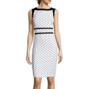 Evan-Picone Sleeveless Polka Dot Sheath Dress