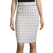Black Label by Evan-Picone Piped Plaid Pencil Skirt