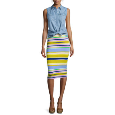 jcpenney.com | Liz Claiborne® Sleeveless Chambray Blouse or Stripe Midi Skirt - Tall