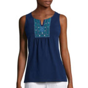 St. John's Bay® Beaded-Inset Embroidered Tank - Tall