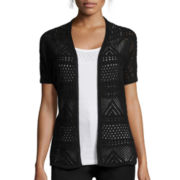 St. John's Bay® Short-Sleeve Pointelle Flyaway Cardigan - Tall