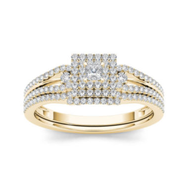 jcpenney.com | 1/2 CT. T.W. Diamond 10K Yellow Gold Bridal Set Ring