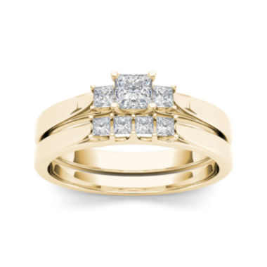 jcpenney.com | 1/2 CT. T.W. Diamond 14K Yellow Gold Bridal Ring Set