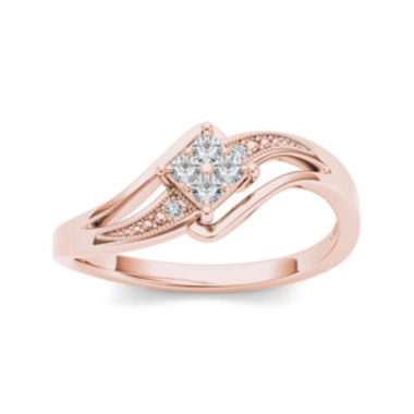 jcpenney.com | 1/10 CT. T.W. Diamond 10K Rose Gold Engagement Ring