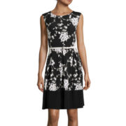 Tiana B. Cap-Sleeve Fit-and-Flare Dress - Tall