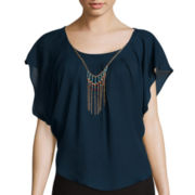 by&by Short-Sleeve Circle Top with Necklace