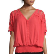 By & By Short-Sleeve Crochet Detail Dolman Top