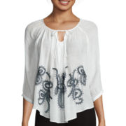 By & By Long-Sleeve Embroidered Peasant Top