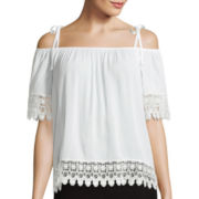 by&by Off the Shoulder Short-Sleeve Crochet Trim Boho Blouse