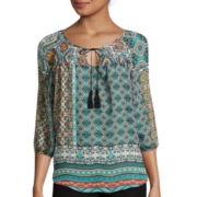 by&by 3/4-Sleeve Printed Peasant Smocked Top