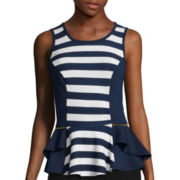 by&by Sleeveless Stripe-to-Solid Peplum Top