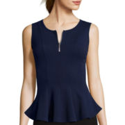 By & By Sleeveless Textured Knit Zipper Peplum Shirt