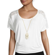 By & By Short-Sleeve Lace Shoulder Necklace Top