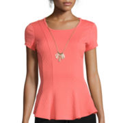 By & By Short-Sleeve Textured Knit Peplum Shirt