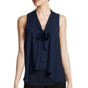 by&by Sleeveless Knit-to-Woven Bow Blouse