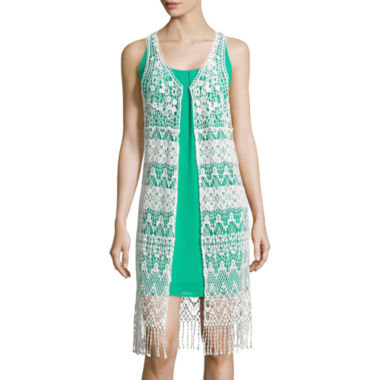 jcpenney.com | Self Esteem® Sleeveless Crochet Cotton Duster