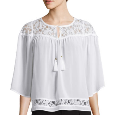 jcpenney.com | nicole by Nicole Miller® 3/4-Sleeve Split Neck Lace Top