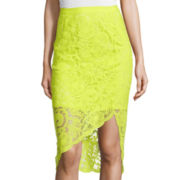 Bisou Bisou® Asymmetrical Lace Pencil Skirt